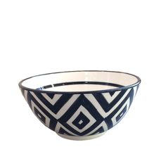Bowl black, white square Ø 22 cm.
