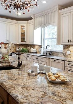 Supreme Kitchen Remodeling Choosing Your New Kitchen Countertops Ideas. Mind Blowing Kitchen Remodeling Choosing Your New Kitchen Countertops Ideas. Kitchen Cabinets Decor, Farmhouse Kitchen Cabinets, Kitchen Redo, Rustic Kitchen, Kitchen Countertops, Rustic Farmhouse, Kitchen Island, Rooster Kitchen, Brown Granite Countertops