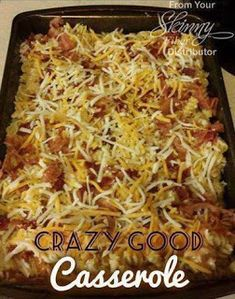 Crazy Good Casserole | 4-5 Chicken Breasts, 6 Strips Bacon, 2 Cans Cream of Chicken Soup, 2C Shredded Monterrey Jack, 16oz Spiral Pasta, 1T Garlic Powder, Salt, Pepper. Cook & crumble bacon. Remove. Cook chicken in bacon drippings. Add garlic powder, salt & pepper. Cook & drain pasta. Mix w chicken, soup & 1C Monterrey Jack. Pour into baking pan. Top w crumbled bacon & remaining Monterrey Jack. Bake 20 min at 400. | Michele's Skinny Friends