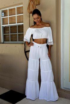 452a829809 Lirome Gitana-organic Gauze Crochet Waist Band Flare Pants. Free shipping  and guaranteed authenticity