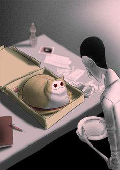 CreepyCat 03 - Pizza, an art print by Cotton Valent Dark Art Illustrations, Illustration Art, Creepy Cat, Scary, Manga, Cat Memes, Cat Art, Wicca, Cool Drawings