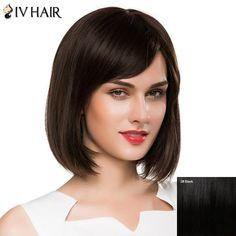 Ladylike Short Straight Women's  Side Bang Siv Human Hair Wig #>=#>=#>=#>=#> Click on the pin to check out discount price, color, size, shipping, etc. Save and like it!