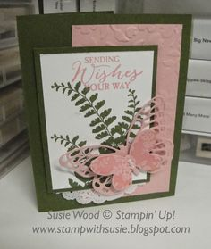 Stampin' Up!- Used the Rose Coral Colorbox Chalk ink pad with the Blushing Bride card stock!  It matches great!!!  And I LOVE these Butterflies Thinlits and coordinating 'Butterfly Basics' stamp set!