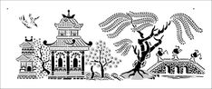 Willow Border stencil from The Stencil Library INDIA AND CHINA range. Buy stencils online. Stencil code IN25.