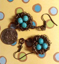 Bird's Nest Earrings - Bronze; Antique Aquamarine