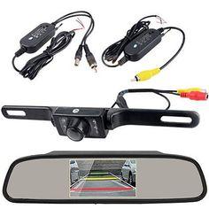 Auto Car Rear View Mirror Monitor+Waterproof Night Vision Backup Reverse Camera