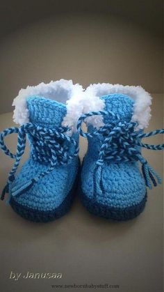Crochet Baby Booties Knitted Knitted Boots - with Fur Scissors by Janusaa - SAShE.sk - Ha ...