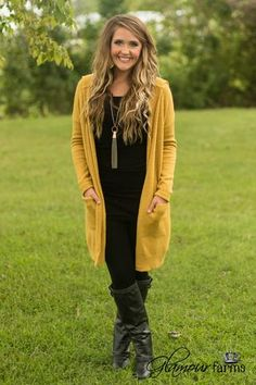 Around The Fire Hooded Cardigan - Mustard