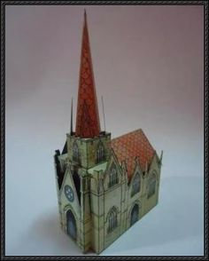 This building paper model is a simple medieval Church, shared by Mini Casitas, Mauther made a revised version. You can download the papercraft template her
