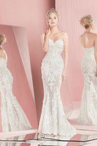 zuhair murad spring summer 2016 bridal strapless sweetheart neckline lace sheath wedding dress patsy
