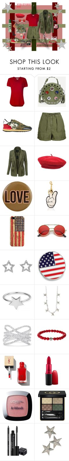 """Stars and Stripes Forever"" by wendy-collins-1 ❤ liked on Polyvore featuring MICHAEL Michael Kors, Valentino, Topshop, LE3NO, Brixton, Accessorize, Anya Hindmarch, Casetify, ZeroUV and Cufflinks, Inc."