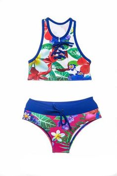 Two piece bikini with great coverage, and perfect for every activity. Two Piece Swimwear, Two Piece Bikini, Children's Swimwear, Bikinis, Girls Bathing Suits, Our Girl, These Girls, Bikini Girls, Flower Power