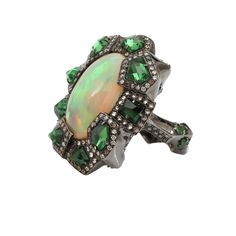 Tsavorite and Opal Ring | ARUNASHI