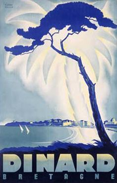 Dinard Bretagne France Vintage Travel Poster Fine Art Giclee Print by Rollier Advertisings Ads Canvas Transfers Oversize Posters Murals