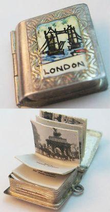 Vintage silver London photo album book charm