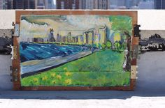 #chicago #skyline #painting #wallart #mixmedia #reclaimedwood from mid century torn down houses by Micah Sawinski www.pickedwithpurpose.com for more or to buy!