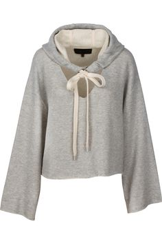 Oversized cotton terry bell sleeve pullover with cut out v neck body cotton polyester Hooded Sweatshirts, Hoodies, White V Necks, Kendall And Kylie, V Neck Tops, White Tops, Bell Sleeves, Pullover, My Style