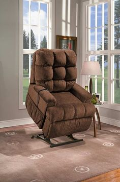 Med-Lift - Reclining Sleeper Power Lift Chair with TV Position and Full Chaise Pad - Cabo Havana Fabric - 5555-CAH-FS