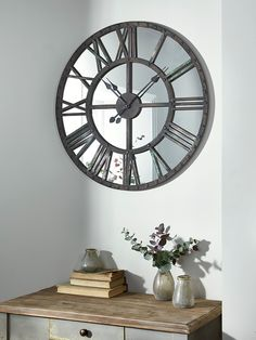 Industrial Large Antiqued Clock With Mirrored Face 106cm