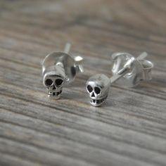 Skull Stud Earrings,Tiny Skull Earrings For Pierced Ears, 3mm Cartilage Jewellery, Skull Jewellery by HeartsandGems on Etsy https://www.etsy.com/listing/224304963/skull-stud-earringstiny-skull-earrings