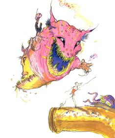 Ultros And Typhon concept art from Final Fantasy VI by Yoshitaka Amano