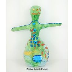 Handmade Voodoo Doll - Magical poppet for a blend of flowers and herbs with spiritual intentions of strength, confidence, self esteem, success, good luck. She is a x inch bit of fiber art.