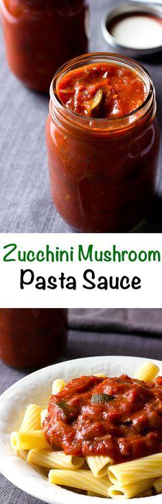 Zucchini Mushroom Pasta Sauce - A chunky spaghetti sauce full of fresh zucchini and mushrooms.