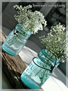 Baby's Breath in vintage Mason jars