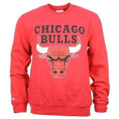 SWEAT CREWNECK MITCHELL AND NESS CHICAGO BULLS CLASSIC LOGO ROUGE