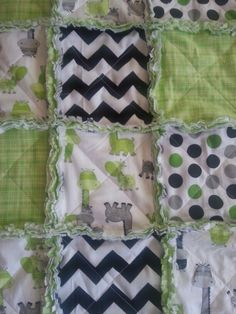 Green Giraffe Dots and Chevron Baby Rag Quilt by Diane Darvis