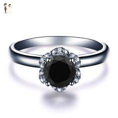 Round Cut Halo Black Diamond Engagement Ring 14k White Gold Yellow Gold Rose Gold or Platinum Modern Design Natural Black Diamond Ring HANDMADE Free Shipping Proposal Ring - Wedding and engagement rings (*Amazon Partner-Link)