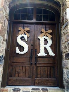 Items similar to 24 Inch Floral Monogram Letter Initial Wedding Door Wreath (SET OF on Etsy Wedding Door Wreaths, Wedding Doors, Wedding Church, Wooden Letters, Monogram Letters, Diy Door Knobs, Pear Wedding Ring, S Love Images, Stylish Alphabets