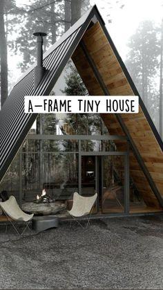 Small House Living, Modern Tiny House, Tiny House Cabin, Small House Design, Small Cabin Designs, Living Room, A Frame House Plans, Small House Plans, A Frame Cabin