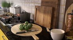 This photo is a detail shot of a kitchen with cutting board, lime and kife. wooden cutting board with yellow color. stainless steel handle with cooking soup on the stove. Cooking Time, Cooking Recipes, Stove, Cutting Board, Tiles, Handle, Houses, Stainless Steel, Detail