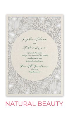 Natural Beauty - Laser Cut Invitation. Ornate laser cut leaves frame your invitation wording in beautiful style inspired by nature. These laser cut wedding invitations are printed on shimmery stock that lends a hint of sparkle and shine to this rustic meets elegant design. Your custom wording is stamped in your choice of copper, gold, rose gold, silver or hunter foil. Laser Cut Invitation, Invitation Wording, Four O Clock, Cranberry Color, Laser Cut Wedding Invitations, Foil Stamping, Laser Cutting, Natural Beauty, Place Cards