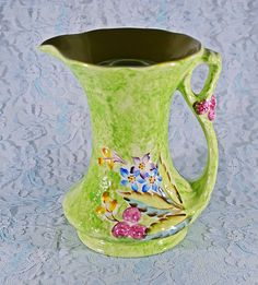 James Kent Ltd Fenton Pitcher Flower Frog, Vintage Jug, Green Floral, Table Centerpiece White Wood Floors, Green Ground, Small Bouquet, Flower Frog, Bedroom Green, Gold Glass, Table Centerpieces, Candlesticks, Gifts For Mom