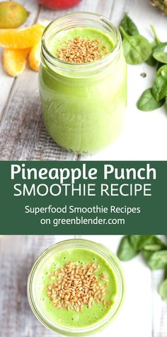 Pineapple Punch Green Smoothie Recipe by Green Blender: Pineapple has plenty of dietary fiber, which is essential to intestinal and digestive health. The spiky tropical fruit contains significant amounts of the enzyme bromelain, which breaks down protein and aids digestion. Flaxseeds are a complete protein (they contain all nine essential amino acids). And a generous splash of lime makes this a drink worthy of a mini-umbrella!