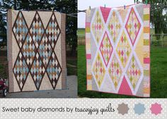 "Sweet Baby Diamonds Quiltby Tracey Jacobsen  A very ""sweet"" quilt measuring about 42″ x 56″ (not for beginners) This tutorial is then my attempt to give you a bit of insight in to my (less than perfect, but hey they work) methods.  I would not recommend this design for a first project, because you are working with so many bias edges, as well as oddly shaped setting triangles"