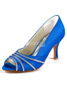 Sky Blue Rhinestone Peep Toe Satin Wedding Sandals. See More Wedding Sandals at http://www.ourgreatshop.com/Wedding-Sandals-C922.aspx