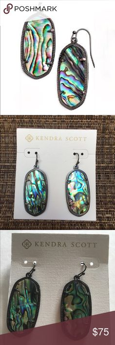 Kendra Scott Gunmetal Abalone She'll Earrings Kendra Scott Gunmetal Abalone Shell Earrings.  NWT.  Textured rhodium gunmetal over brass.  Prong set, abalone centers.  French wire.  Make for a great gift. Kendra Scott Jewelry Earrings