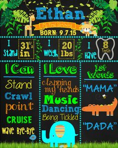 Safari First Birthday Chalkboard Poster