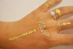 Gold Triangular Jewelry Tattoos, Finger / Hand Metallic Tattoos, Temporary Tattoos for Women by SkinJewels on Etsy https://www.etsy.com/listing/213457032/gold-triangular-jewelry-tattoos-finger