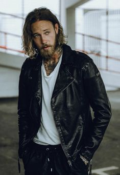 Billy Huxley, Hair And Beard Styles, Hair Styles, Character Aesthetic, Instagram Fashion, Sexy, Folk, Bomber Jacket, Leather Jacket