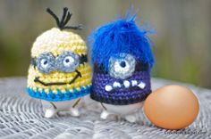Crochet Egg Cosy Inspired by the Minions - evil purple minion or yellow minion  ~ ITEM FOR SALE. Link correct when I checked on 04/09/2015
