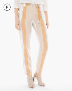 Chico's Women's Petite Striped Tapered Ankle Pants, Multi, Size: 3P (16P/18P XL)