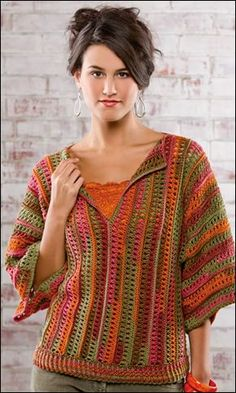 Camille Top from the Autumn 2013 issue of Crochet! Order a digital cop. - Camille Top from the Autumn 2013 issue of Crochet! Order a digital copy here: www. Cardigan Au Crochet, Crochet Jacket, Crochet Cardigan, Crochet Shawl, Knit Crochet, Crochet Tops, Crochet Sweaters, Tunisian Crochet, Autumn Crochet