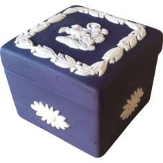 Wedgwood Miniature Trinket Box, Jasperware in Cobalt Blue