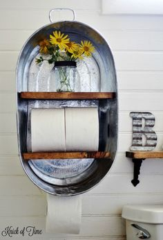 Turn a metal wash tub from the farm supply store into a farmhouse bathroom shelf…