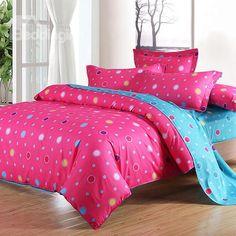 Lifeful Rose Color Polka Dot Print 4-Piece Cotton Duvet Cover Sets - beddinginn.com