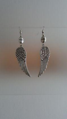 Angel Wings Earrings Silver Dangle Earrings Silver by LGBStyles